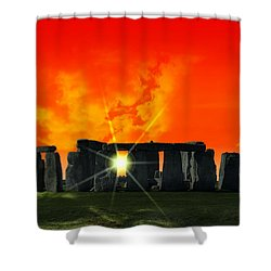 Stonehenge Solstice Shower Curtain by Daniel Hagerman
