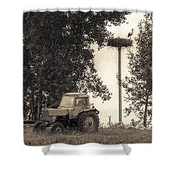 Stork Vs Tractor Shower Curtain by Yevgeni Kacnelson