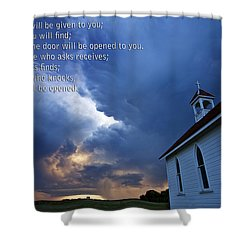 Storm Clouds And Scripture Matthew Country Church Shower Curtain by Mark Duffy