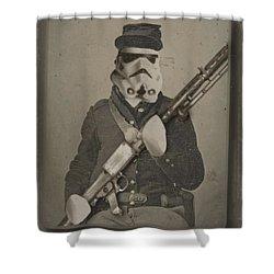 Storm Trooper Star Wars Antique Photo Shower Curtain by Tony Rubino