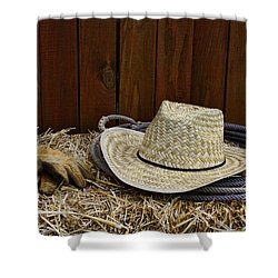 Straw Hat  On  Hay Shower Curtain by Paul Ward
