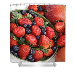 Strawberries Blueberries Mangoes And A Banana - Fruit Tray Shower Curtain by Andee Design