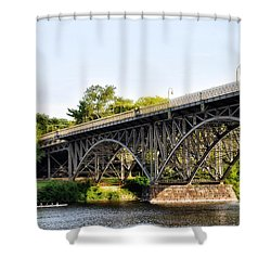 Strawberry Mansion Bridge And The Schuylkill River Shower Curtain by Bill Cannon
