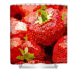 Strawberry Mosaic Shower Curtain by Anne Gilbert