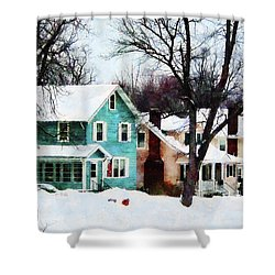 Street After Snow Shower Curtain by Susan Savad