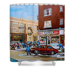 Street Hockey On Monkland Avenue Paintings Of Montreal City Scenes Shower Curtain by Carole Spandau