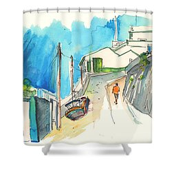 Street In Ericeira In Portugal Shower Curtain by Miki De Goodaboom