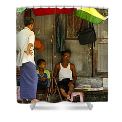Street Seller Sitting In The Shade Under An Umbrella Yangon Myanmar Shower Curtain by Ralph A  Ledergerber-Photography