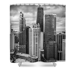 Streeterville From Above Black And White Shower Curtain by Adam Romanowicz