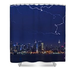 Strikes And Bolts In Nyc Shower Curtain by Susan Candelario