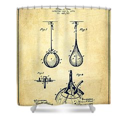 Striking Bag Patent Drawing From 1891 - Vintage Shower Curtain by Aged Pixel