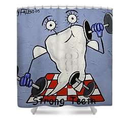 Strong Teeth Shower Curtain by Anthony Falbo