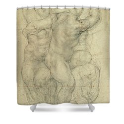 Study For A Group Of Nudes Shower Curtain by Jacopo Pontormo