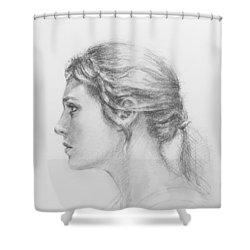 Study In Profile Shower Curtain by Sarah Parks