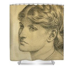 Study Of A Head For The Bower Meadow Shower Curtain by Dante Charles Gabriel Rossetti