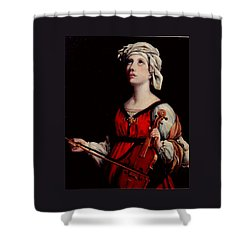 Study Of St. Cecelia Shower Curtain by Donna Tucker