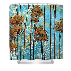 Stunning Abstract Landscape Elegant Trees Floating Dreams II By Megan Duncanson Shower Curtain by Megan Duncanson