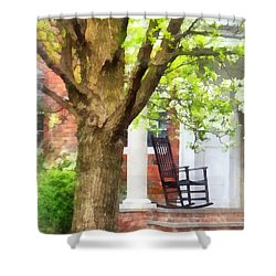 Suburbs - Rocking Chair On Porch Shower Curtain by Susan Savad