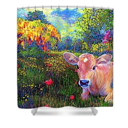 Such A Contented Cow Shower Curtain by Jane Small