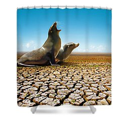 Suffering Seals Shower Curtain by Carlos Caetano