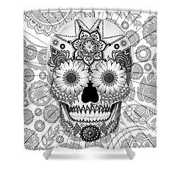 Sugar Skull Bleached Bones - Copyrighted Shower Curtain by Christopher Beikmann