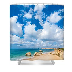 Summer Beach Algarve Portugal Shower Curtain by Amanda Elwell