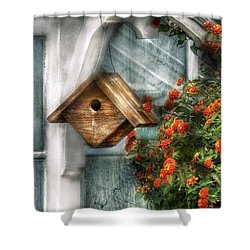 Summer - Birdhouse - The Birdhouse Shower Curtain by Mike Savad