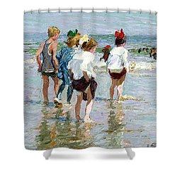 Summer Day At Brighton Beach Shower Curtain by Edward Potthast