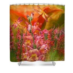 Summer Dragons - Square Shower Curtain by Carol Cavalaris