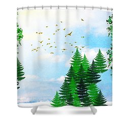 Summer Four Seasons Art Series Shower Curtain by Christina Rollo