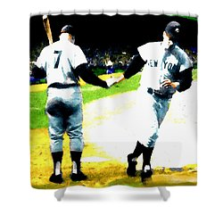 Summer Of The Gods  Iv 1961 Mickey Mantle Shower Curtain by Iconic Images Art Gallery David Pucciarelli