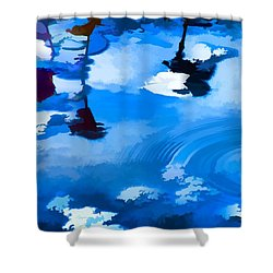 Summertime Blue Shower Curtain by Robyn King