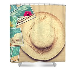 Summertime Postcards Shower Curtain by Amanda Elwell