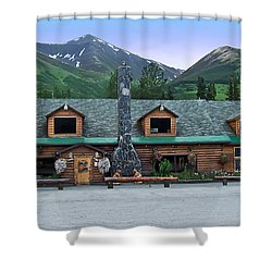 Summit Lake Lodge Alaska Shower Curtain by Aimee L Maher Photography and Art Visit ALMGallerydotcom