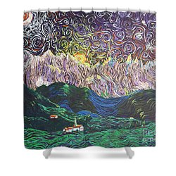 Sun And Moon Night Shower Curtain by Stefan Duncan