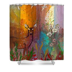 Sun Deer Shower Curtain by Robin Maria Pedrero