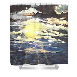 Rays Of Light Shower Curtain by Caroline Street