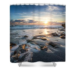 Sun Rays On The Ocean Shower Curtain by Debra and Dave Vanderlaan