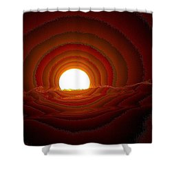 Sunfall Behind The Mountains Shower Curtain by Jeff Swan