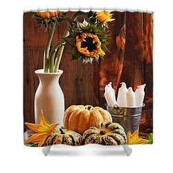 Sunflower And Gourds Still Life Shower Curtain by Amanda And Christopher Elwell
