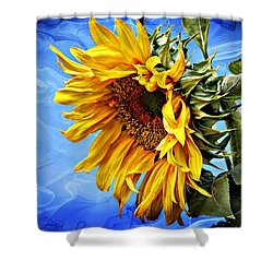 Sunflower Fantasy Shower Curtain by Barbara Chichester