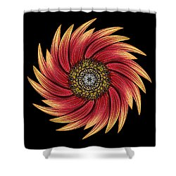 Sunflower Moulin Rouge Ix Flower Mandala Shower Curtain by David J Bookbinder