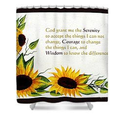 Sunflowers And Serenity Prayer Shower Curtain by Barbara Griffin
