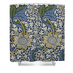Sunflowers On Blue Pattern Shower Curtain by William Morris