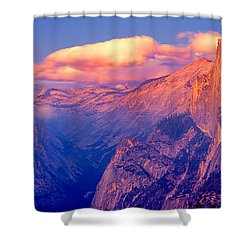Sunlight Falling On A Mountain, Half Shower Curtain by Panoramic Images