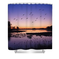 Sunrise At Assateague - Wetlands - Silhouette  Shower Curtain by Shara Lee
