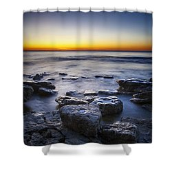 Sunrise At Cave Point Shower Curtain by Scott Norris