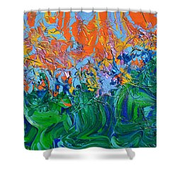 Sunrise Over Stormy Seas Shower Curtain by Donna Blackhall