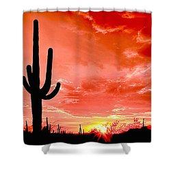 Sunrise Saguaro National Park Shower Curtain by Bob and Nadine Johnston