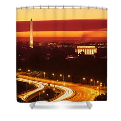 Sunset, Aerial, Washington Dc, District Shower Curtain by Panoramic Images